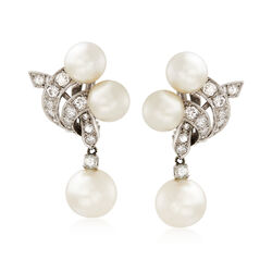 C. 1950 Vintage Cultured Pearl and 1.25 ct. t.w. Diamond Drop Clip-On Earrings in 14kt White Gold  , , default