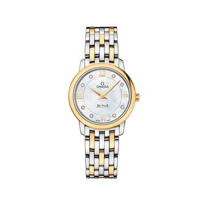 Omega De Ville Prestige Women's 27.4mm Stainless Steel and 18kt Gold Watch with Diamonds - Mother-Of-Pearl Dial
