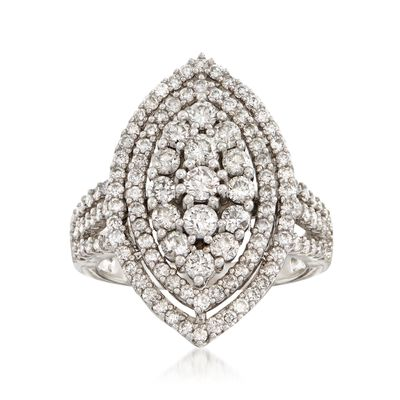 C. 1980 Vintage 2.30 ct. t.w. Diamond Navette Cluster Ring in 14kt White Gold, , default