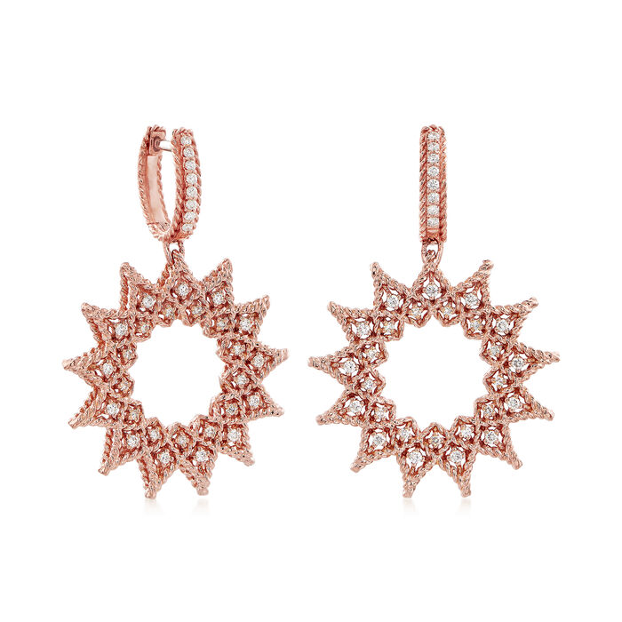 "Roberto Coin ""Barocco"" Diamond Starburst Drop Earrings in 18kt Rose Gold"