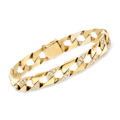 C. 1980 Vintage 1.50 ct. t.w. Diamond Curb-Link Bracelet in 14kt Yellow Gold, , default