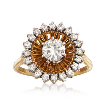 C. 1970 Vintage 1.00 ct. t.w. Diamond Halo Ring in 18kt Yellow Gold, , default