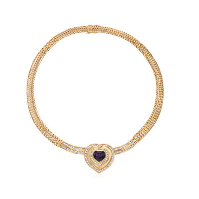 C. 1980 Vintage 7.30 Carat Heart-Shaped Amethyst and 4.25 ct. t.w. Diamond Necklace in 18kt Yellow Gold, , default