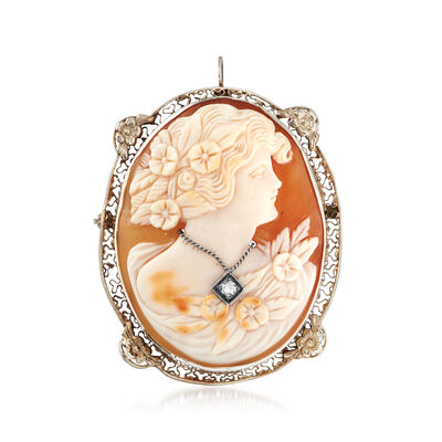 C. 1950 Vintage Oval Shell Cameo Pin/Pendant with Diamond Accent in 14kt White Gold, , default