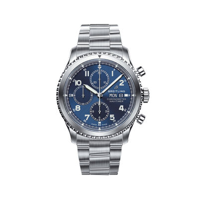 Breitling Navitimer 8 Chronograph Men's 43mm Stainless Steel Watch - Blue Dial, , default