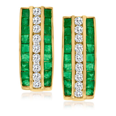 C. 1990 Vintage 2.80 ct. t.w. Emerald and 1.10 ct. t.w. Diamond Earrings in 18kt Yellow Gold