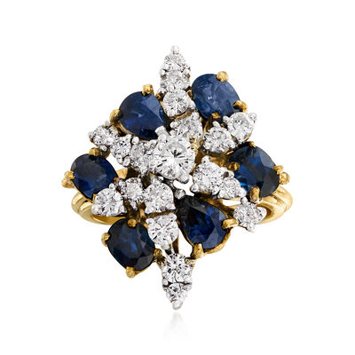 C. 1970 Vintage 3.00 ct. t.w. Sapphire and 1.35 ct. t.w. Diamond Cluster Ring in 14kt Yellow Gold, , default