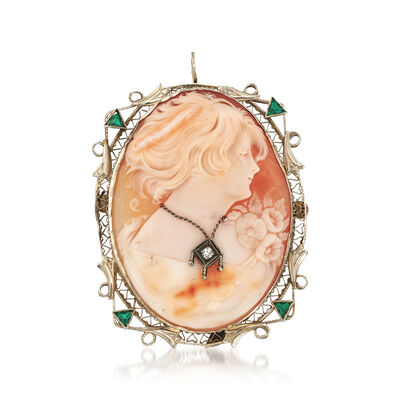 C. 1950 Vintage Pink Shell Cameo Pin Pendant with Diamond and Glass Accents in 14kt White Gold, , default