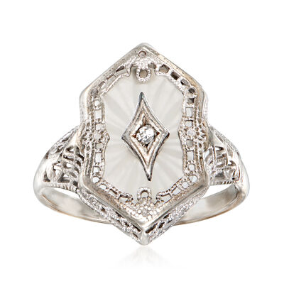 C. 1940 Vintage Glass Ring with Diamond Accent in 10kt White Gold
