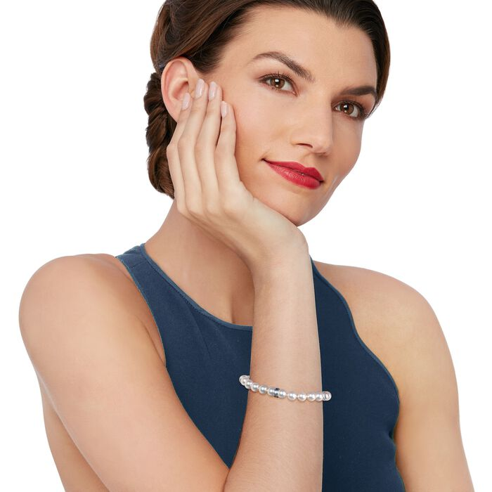 Mikimoto 7-7.5mm A1 Akoya Pearl and Sapphire Bracelet in 18kt White Gold