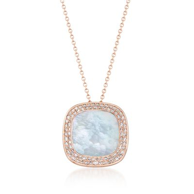 """Roberto Coin """"Carnaby Street"""" .65 ct. t.w. Diamond and Mother-Of-Pearl Pendant Necklace in 18kt Rose Gold"""