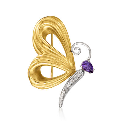 C. 1980 Vintage .20 Carat Amethyst Butterfly Pin with Diamond Accents in 14kt Two-Tone Gold