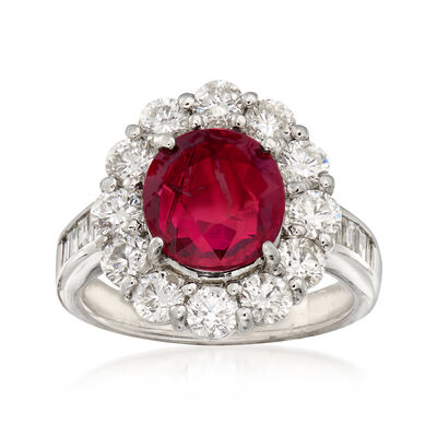 2.63 Carat Ruby and 1.94 ct. t.w. Diamond Ring in Platinum
