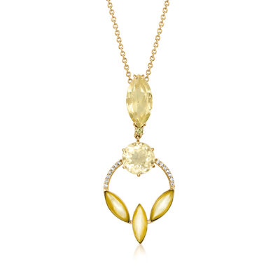 C. 1990 Vintage Mother-Of-Pearl, 6.30 ct. t.w. Lime Quartz and .15 ct. t.w. Diamond Necklace in 18kt Yellow Gold