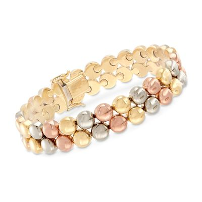 C. 1990 Vintage 18kt Tri-Colored Gold Double-Bead Bracelet, , default