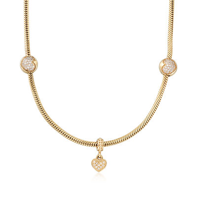 C. 2010 Vintage Pandora 1.15 ct. t.w. CZ Heart Bead Necklace with Diamond Accents in 14kt Gold, , default