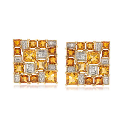 C. 1980 Vintage 10.40 ct. t.w. Citrine and .30 ct. t.w. Diamond Checkerboard Earrings in 14kt Yellow Gold, , default