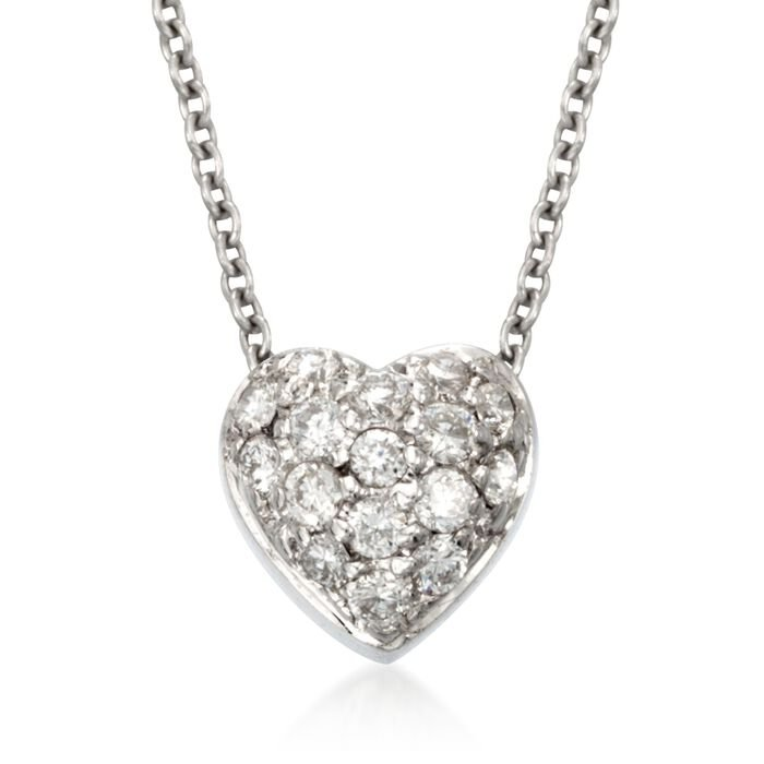Roberto Coin Tiny Treasures .15 Carat Total Weight Diamond Puffed Heart Necklace in 18-Karat White Gold, , default