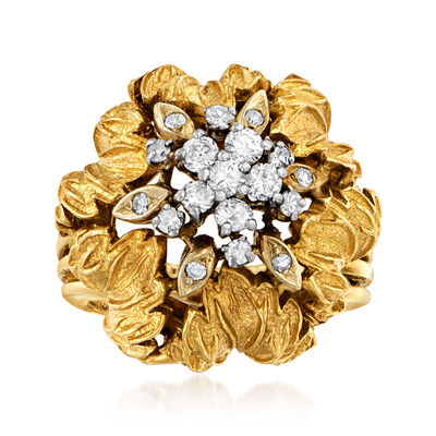 C. 1970 Vintage .70 ct. t.w. Diamond Leaf Cluster Ring in 18kt Yellow Gold