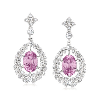 C. 2000 Vintage 3.70 ct. t.w. Pink Sapphire and .75 ct. t.w. Diamond Drop Earrings in 18kt White Gold