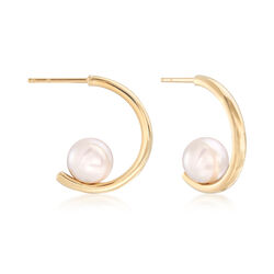 Mikimoto 7.5mm A+ Akoya Pearl Hoop Earrings in 18kt Yellow Gold, , default