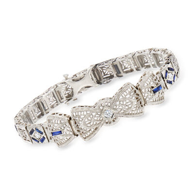 C. 1950 Vintage .10 Carat Diamond and 1.00 ct. t.w. Synthetic Sapphire Filigree Bracelet with .20 ct. t.w. White Zircons in 14kt White Gold