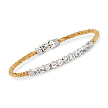 """ALOR Burano 3.00 Carat Total Weight White Topaz Yellow Cable Bracelet With 14-Karat White Gold. 7"""", , default"""