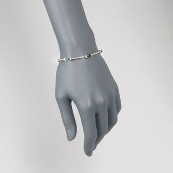 "3.00 Carat Total Weight Emerald and .65 Carat Total Weight Diamond Bracelet in 14-Karat White Gold. 7"", , default"