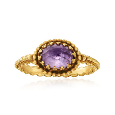 C. 1980 Vintage 1.10 Carat Amethyst Ring in 18kt Yellow Gold, , default