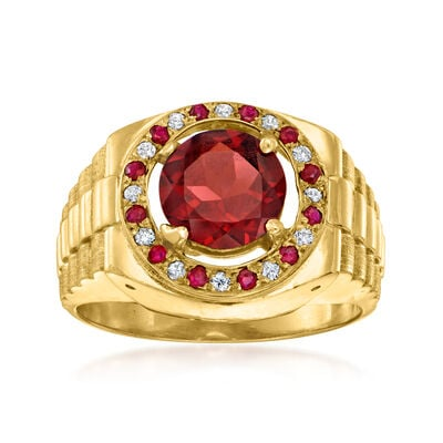 C. 1980 Vintage 2.00 ct. t.w. Garnet and .12 ct. t.w. Diamond Ring in 14kt Yellow Gold