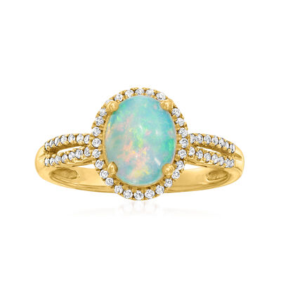 C. 2000 Vintage Opal and .20 ct. t.w. Diamond Ring in 14kt Yellow Gold