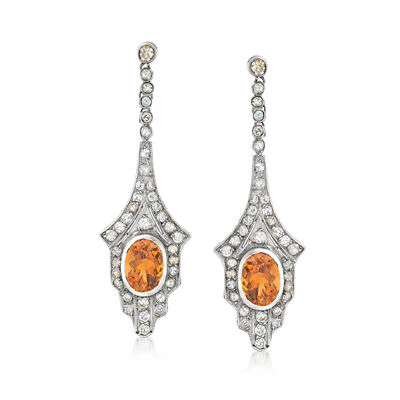 C. 1950 Vintage 4.00 ct. t.w. Citrine Drop Earrings with 1.60 ct. t.w. Diamonds in 10kt White Gold