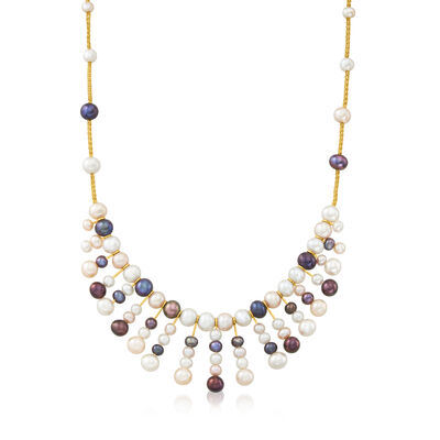 C. 1990 Vintage Multicolored Cultured Pearl Bib Necklace with 14kt Yellow Gold