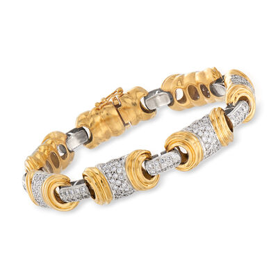 C. 1980 Vintage 4.75 ct. t.w. Diamond Section Bracelet in 18kt Two-Tone Gold