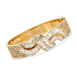 C. 1990 Vintage 7.55 ct. t.w. Round and Baguette Diamond Twist Bracelet in 18kt Yellow Gold, , default