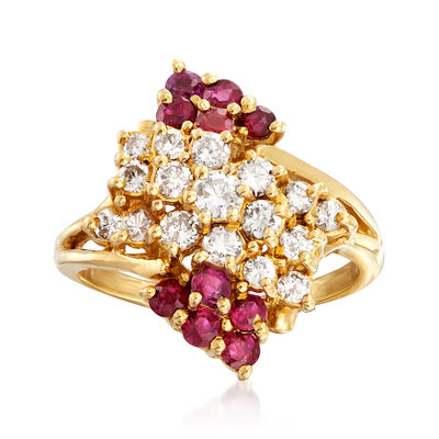 C. 1980 Vintage .80 ct. t.w. Ruby and .65 ct. t.w. Diamond Cluster Ring in 14kt Yellow Gold, , default