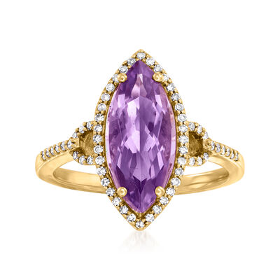 C. 2000 Vintage 2.00 Carat Amethyst and .30 ct. t.w. Diamond Ring in 14kt Yellow Gold