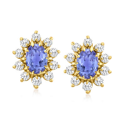 C. 1980 Vintage 1.75 ct. t.w. Tanzanite and .70 ct. t.w. Diamond Earrings in 14kt Yellow Gold