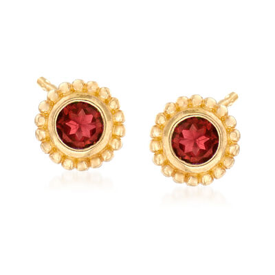 "Phillip Gavriel ""Popcorn"" .30 ct. t.w. Garnet Stud Earrings in 14kt Yellow Gold"