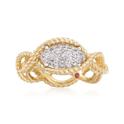 "Roberto Coin ""Barocco"" .24 ct. t.w. Diamond Braided Ring in 18kt Yellow Gold, , default"