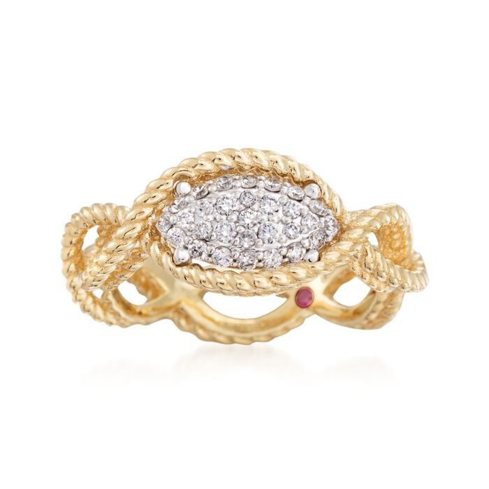 Roberto Coin Barocco .24 Carat Total Weight Diamond Braid Ring in 18-Karat Yellow Gold. Size 6.5, , default