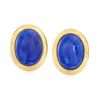 C. 1980 Vintage Lapis Earrings in 14kt Yellow Gold
