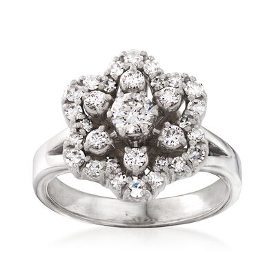 C. 1980 Vintage 1.00 ct. t.w. Diamond Flower Ring in Platinum and 18kt Yellow Gold, , default
