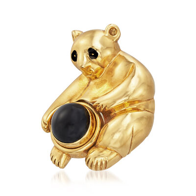 C. 1995 Vintage Piaget Bear Pin in 18kt Yellow Gold With Black Onyx , , default