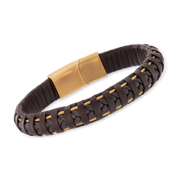 """ALOR Men's Brown Leather and Yellow Stainless Steel Bracelet with Magnetic Clasp. 8"""""""