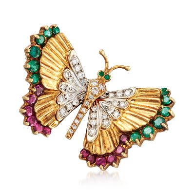 C. 1990 Vintage 2.50 ct. t.w. Ruby and Emerald Butterfly Pin with Diamonds in 18kt Yellow Gold, , default