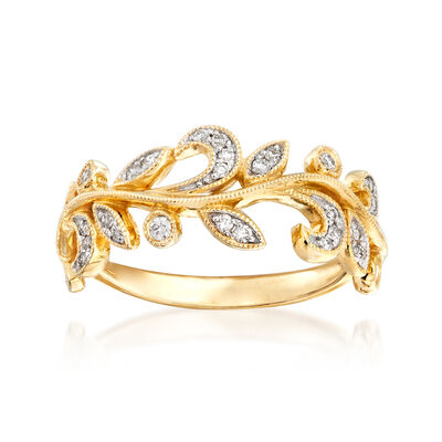 Gabriel Designs .28 ct. t.w. Diamond Leaf Ring in 14kt Yellow Gold, , default