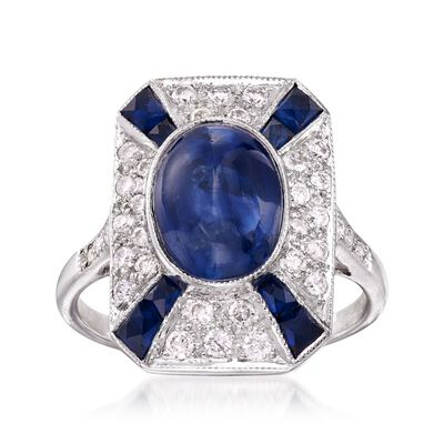 C. 2000 Vintage 4.45 ct. t.w. Sapphire and .45 ct. t.w. Diamond Ring in 18kt White Gold, , default