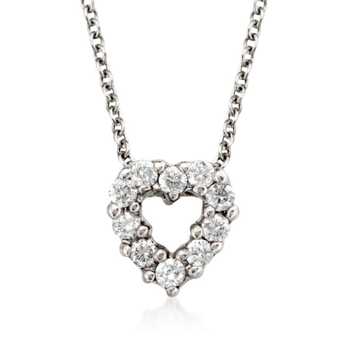 "Roberto Coin Tiny Treasures .11 Carat Total Weight Diamond Heart Necklace in 18-Karat White Gold. 16"", , default"