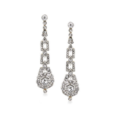 C. 1950 Vintage 2.70 ct. t.w. Diamond Drop Earrings in Platinum with 18kt Yellow Gold, , default
